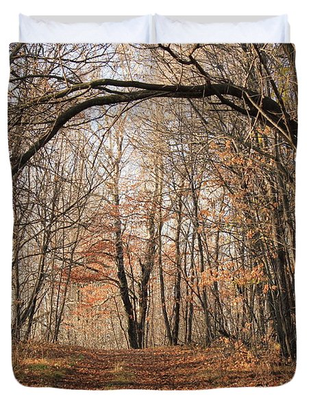 Duvet Cover featuring the photograph Autumn In The Woods by Penny Meyers