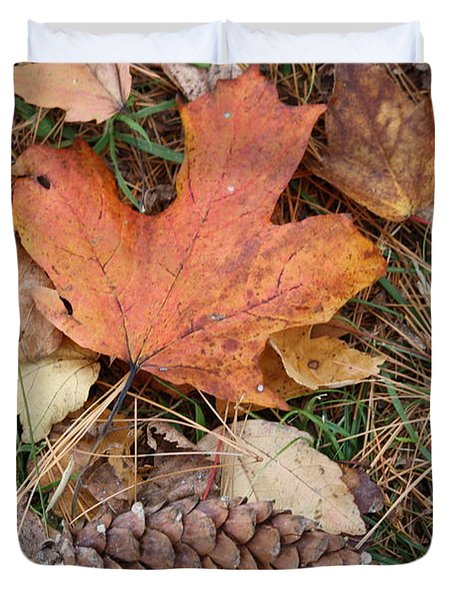 Duvet Cover featuring the photograph Autumn Leaves by Donna  Smith
