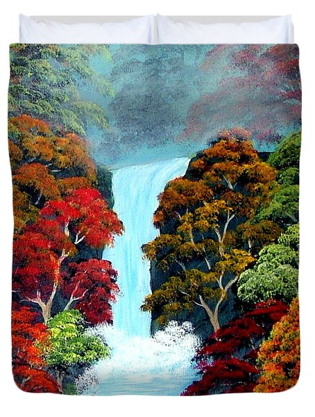 Duvet Cover featuring the painting Autumn Leaves by Fram Cama
