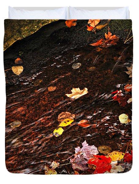 Autumn Leaves In River Duvet Cover by Elena Elisseeva