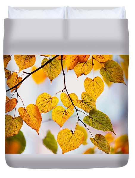 Autumn Leaves Duvet Cover by Jenny Rainbow