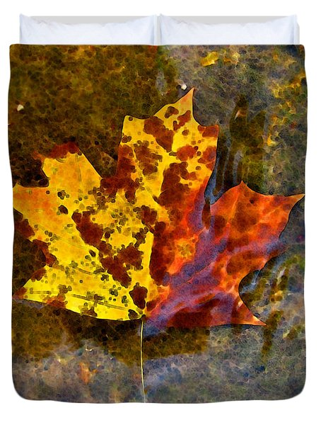 Duvet Cover featuring the digital art Autumn Maple Leaf In Water by Debbie Portwood