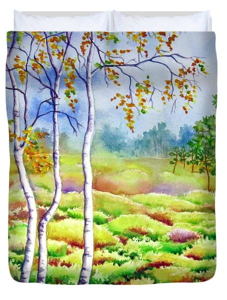 Duvet Cover featuring the painting Autumn Marsh by Inese Poga