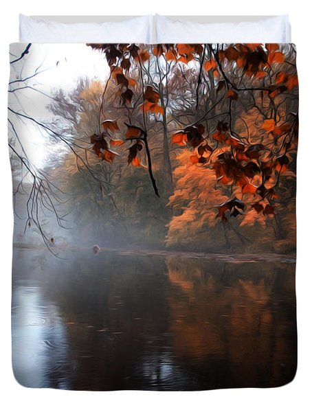 Autumn Morning By Wissahickon Creek Duvet Cover by Bill Cannon