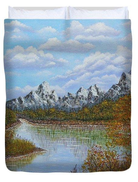 Autumn Mountains Lake Landscape Duvet Cover by Georgeta  Blanaru