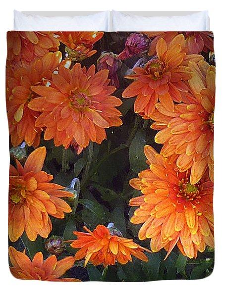 Autumn Orange Flowers Duvet Cover by Mikki Cucuzzo