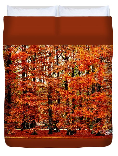 Autumn Red Maple Landscape Duvet Cover