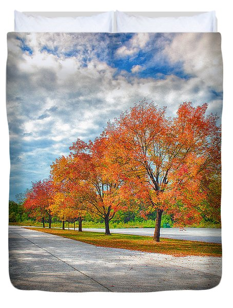 Autumn Trees At Busch Duvet Cover by Bill Tiepelman