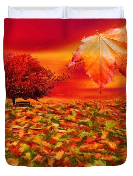 Autumnal Scene Duvet Cover by Lourry Legarde