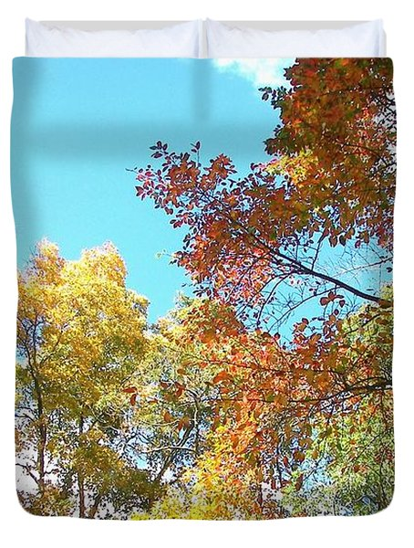 Duvet Cover featuring the photograph Autumn's Vibrant Image by Pamela Hyde Wilson