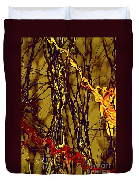 Duvet Cover featuring the digital art Shapes Of Fire by Leo Symon