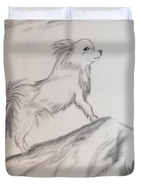 Duvet Cover featuring the drawing Aye Chihuahua by Maria Urso