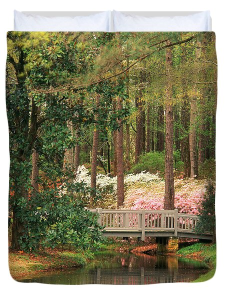 Azaleas And Footbridge Duvet Cover by Michael Hubrich and Photo Researchers