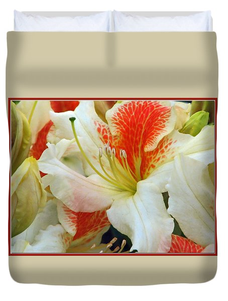 Duvet Cover featuring the photograph Azaleodendron Glory Of Littleworth by Chris Anderson