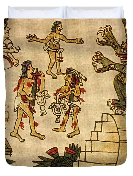 Aztec Priests Appease Mictlantecuhtli Duvet Cover by Photo Researchers