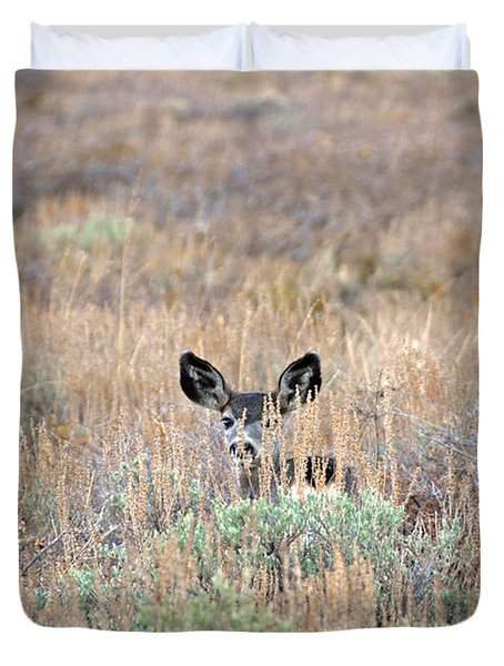 Duvet Cover featuring the photograph Babe In Hiding by Lynn Bauer