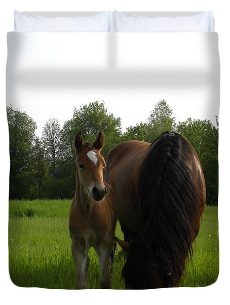 Babe With Mom Duvet Cover