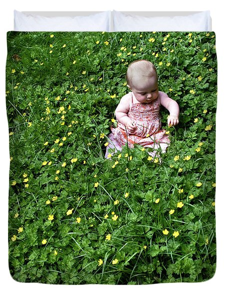 Baby In A Field Of Flowers Duvet Cover