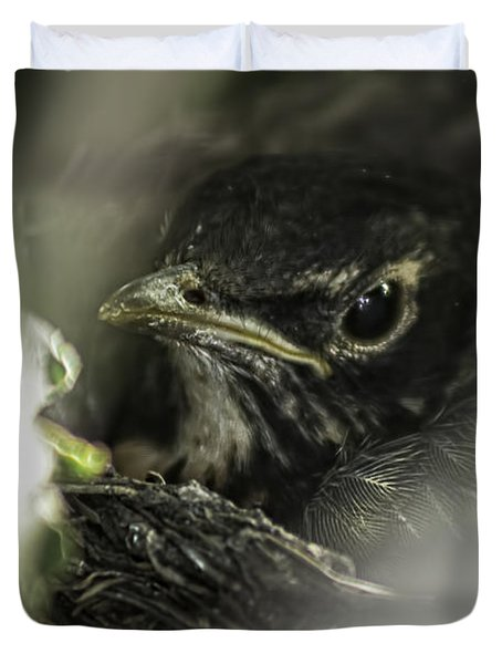 Duvet Cover featuring the photograph Baby Robin by Tom Gort
