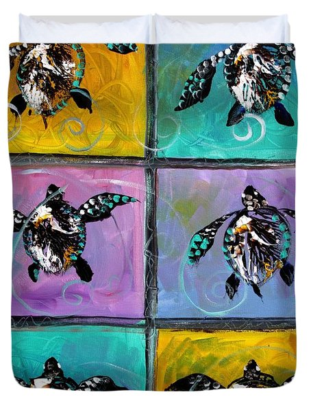Baby Sea Turtles Six Duvet Cover by J Vincent Scarpace