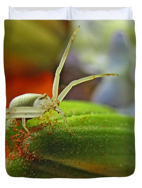 Duvet Cover featuring the photograph Back Off by Debbie Portwood