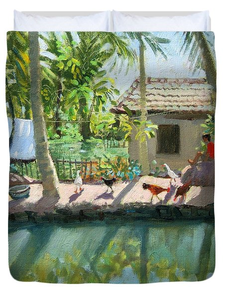 Backwaters India  Duvet Cover by Andrew Macara