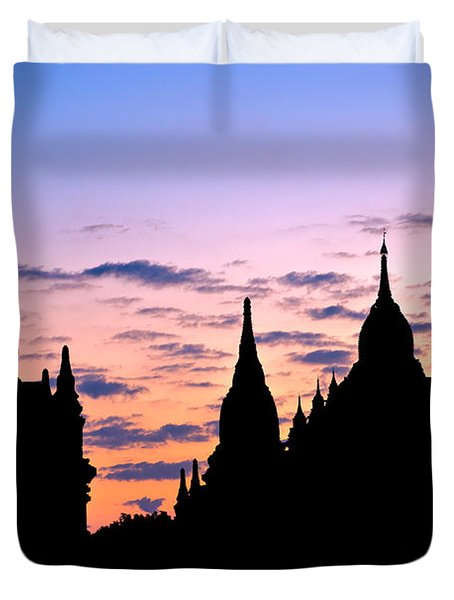 Duvet Cover featuring the photograph Bagan by Luciano Mortula