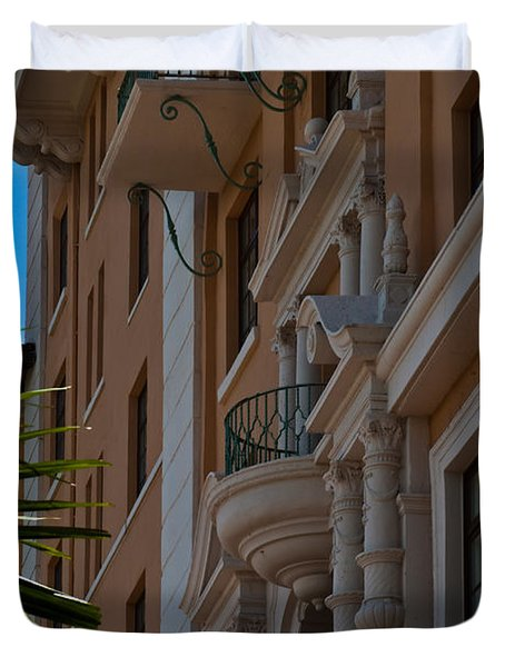 Duvet Cover featuring the photograph Balcony At The Biltmore Hotel by Ed Gleichman