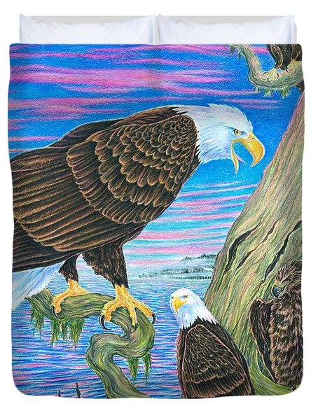 Bald Eagles On Lake Yelowstone Duvet Cover