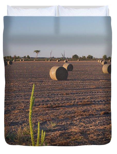 Bales In Peanut Field 12 Duvet Cover by Douglas Barnett