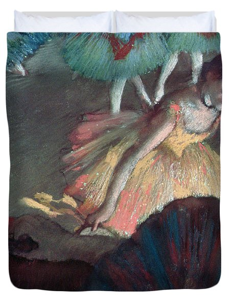 Ballerina And Lady With A Fan Duvet Cover by Edgar Degas