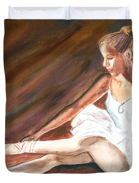Duvet Cover featuring the painting Ballet Dancer by Clara Sue Beym
