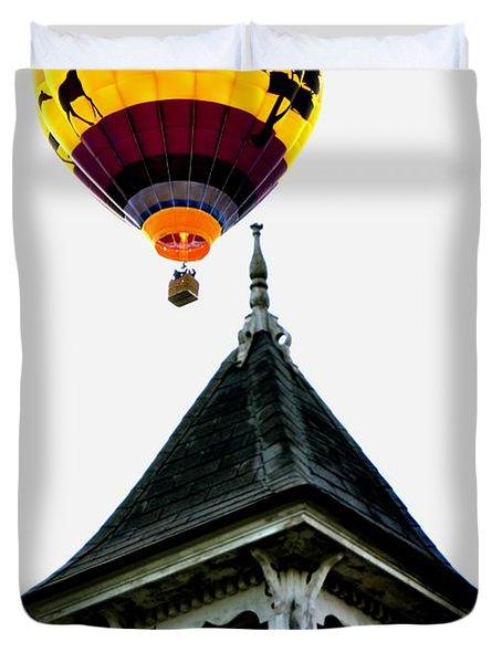 Duvet Cover featuring the photograph Balloon By The Steeple by Rick Frost