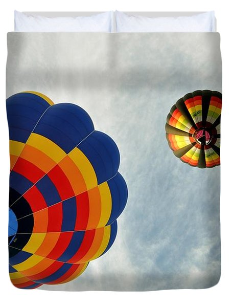 Duvet Cover featuring the photograph Balloons On The Rise by Rick Frost