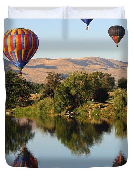 Balloons Over Horse Heaven Duvet Cover by Carol Groenen