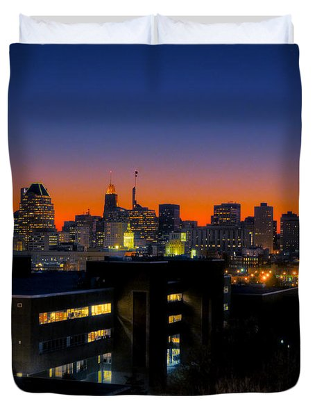 Duvet Cover featuring the photograph Baltimore At Sunset by Mark Dodd