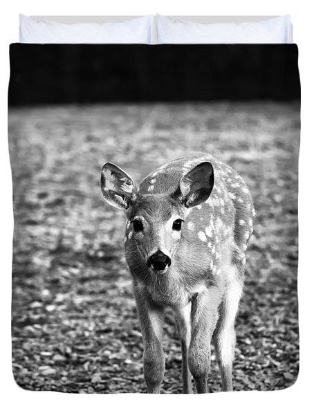 Bambi In Black And White Duvet Cover by Sebastian Musial