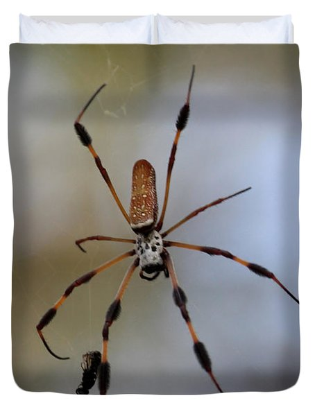 Banana Spider With Prey Duvet Cover by Carol Groenen