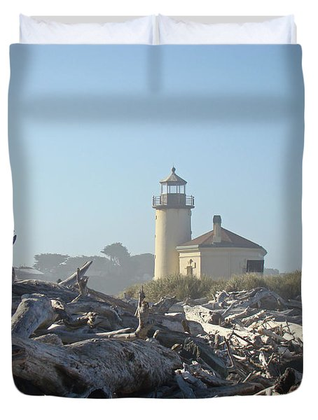 Bandon Oregon Lighthouse Art Prints Driftwood Duvet Cover by Baslee Troutman