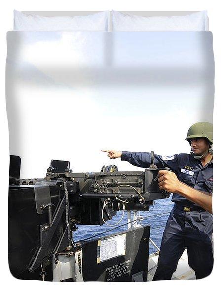Bangladesh Navy Sailors Fire Duvet Cover by Stocktrek Images