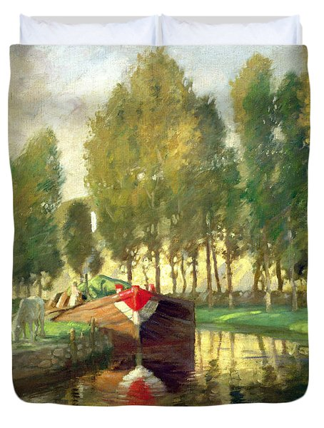 Barge On A River Normandy Duvet Cover by Rupert Charles Wolston Bunny