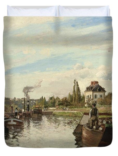 Barge On The Seine At Bougival Duvet Cover by Camille Pissarro