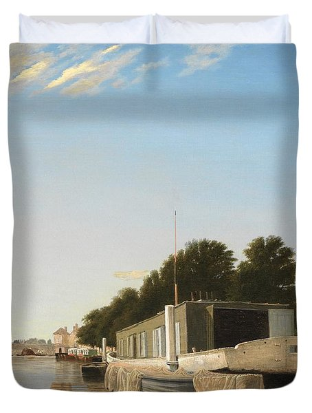 Barges At A Mooring Duvet Cover by Unknown