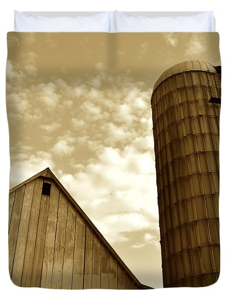 Barn And Silo In Sepia Duvet Cover