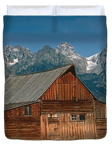 Duvet Cover featuring the photograph Barn And Tetons by Jerry Fornarotto