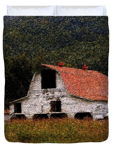 Duvet Cover featuring the photograph Barn In Mountains by Lydia Holly