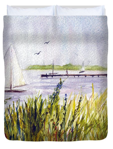 Duvet Cover featuring the painting Barnegat Sails by Clara Sue Beym