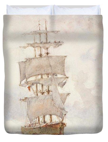 Barque And Tug Duvet Cover by Henry Scott Tuke