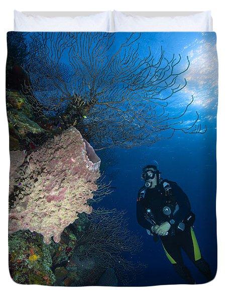 Barrel Sponge And Diver, Belize Duvet Cover by Todd Winner