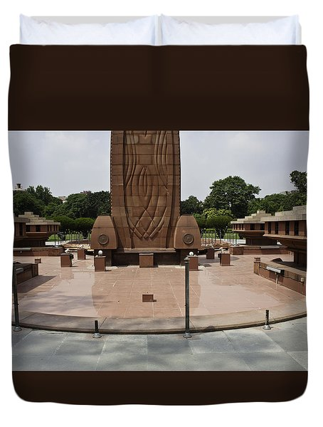 Duvet Cover featuring the photograph Base Of The Jallianwala Bagh Memorial In Amritsar by Ashish Agarwal
